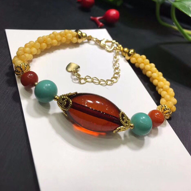 Fine JoursNeige Yellow Natural Stone Bracelets Hand Waved Beads and Red Bead Bracelet for Women Girl Noble lucky Fashion Jewelry
