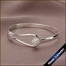 Wholesale Retro Flower Rose Cuff Adjustable Bangle Bracelet -Three times silver plated Free shipping