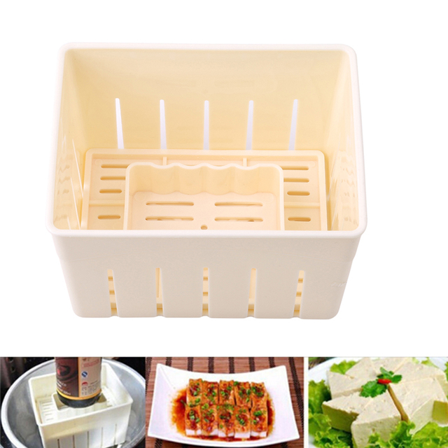 Hot DIY Plastic Tofu Press Mould Homemade Tofu Mold Soybean Curd Tofu Making Mold With Cheese Cloth Kitchen Cooking Tool Set