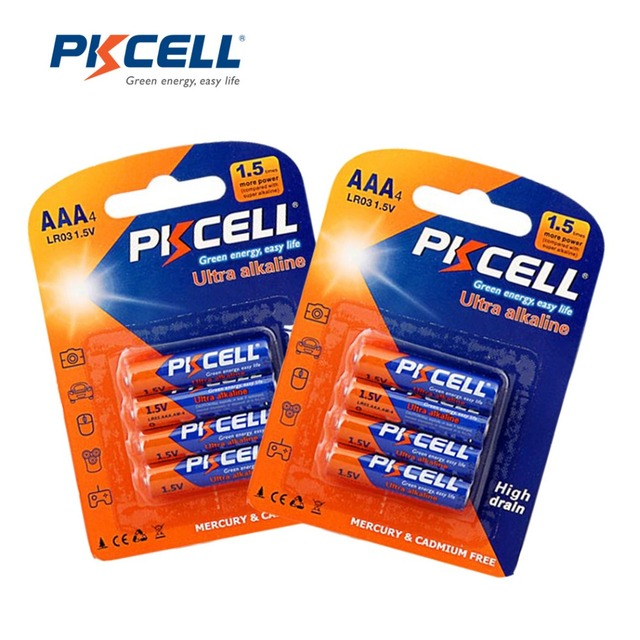 8Pcs/2card PKCELL 1.5V LR03 AAA Alkaline Single Use Battery MN2400 3A Bateria Bateries for Electronic thermogun,flash,shavers