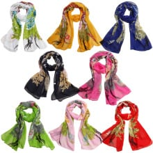 Women's Fashion Peacock Print Long Soft Chiffon Scarf Wrap Shawl Stole Scarves