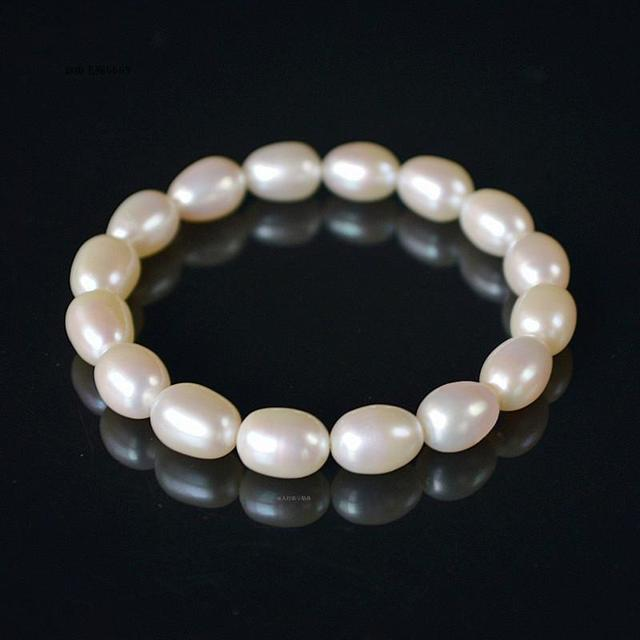 Freshwater Cultured Pearl Bracelet 100% Authentic Oval White Real Pearls Beads Strand Bracelets & Bangles for Women Summer Style
