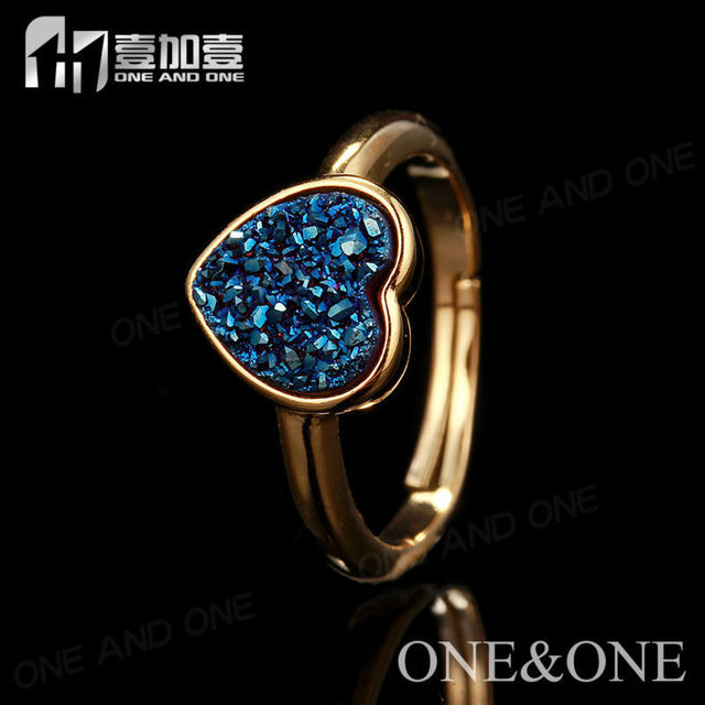 Blue Druzy stone Rings for Woman Nature Druzy  wedding rings