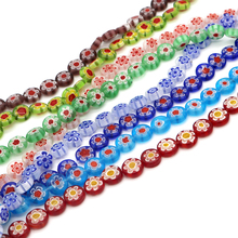 40pcs/lot Multi Colors Round Lampwork Millefiori Beads 10x4mm Glaze Spacer Beads For Jewelry Making Craft Bracelet DIY Beads