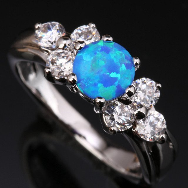 Blue Fire Opal & White  Silver Plated Argent Party Jewelry Us# Size 6 7 8 9 SF1082