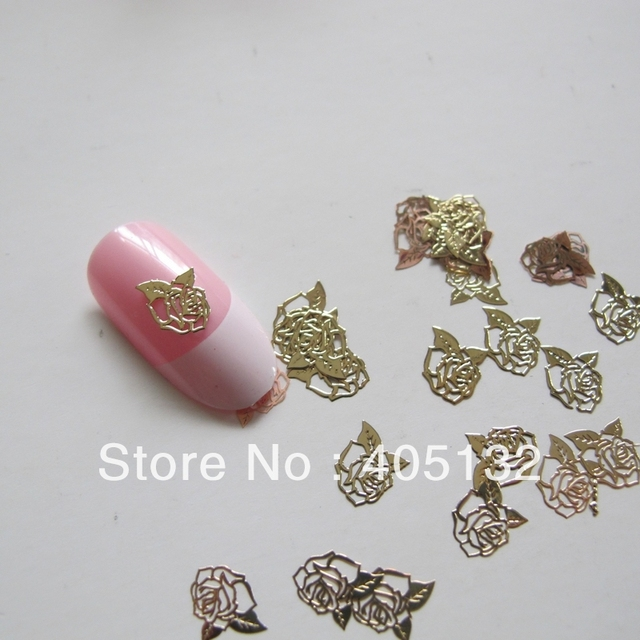 MS-189-2 Free Shipping Metal Gold Cute Flower Nail Art Metal Sticker Nail Art Decoration Fancy Outlooking