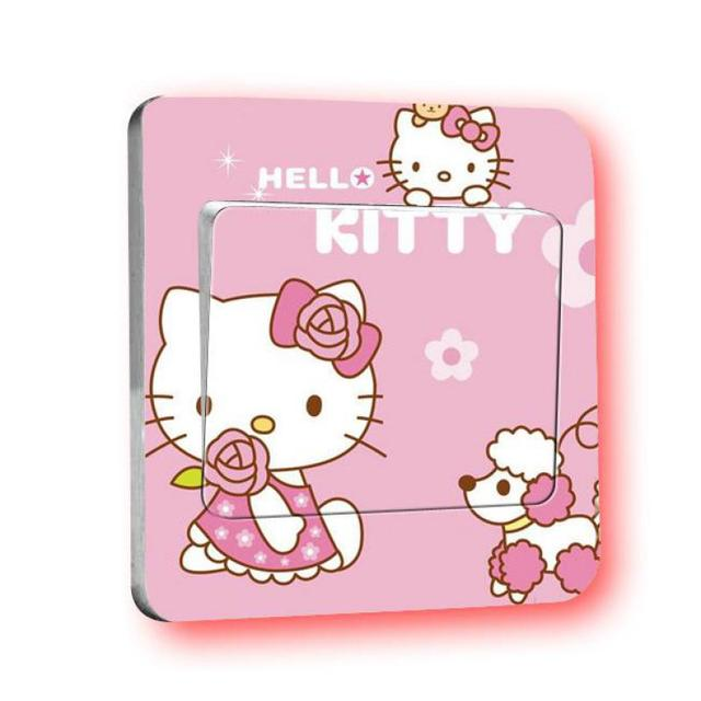 4 pcs Hello Kitty Light Switch Stickers princess Home Decoration Accessories Wall Stickers For Kids Rooms Border Tiles For