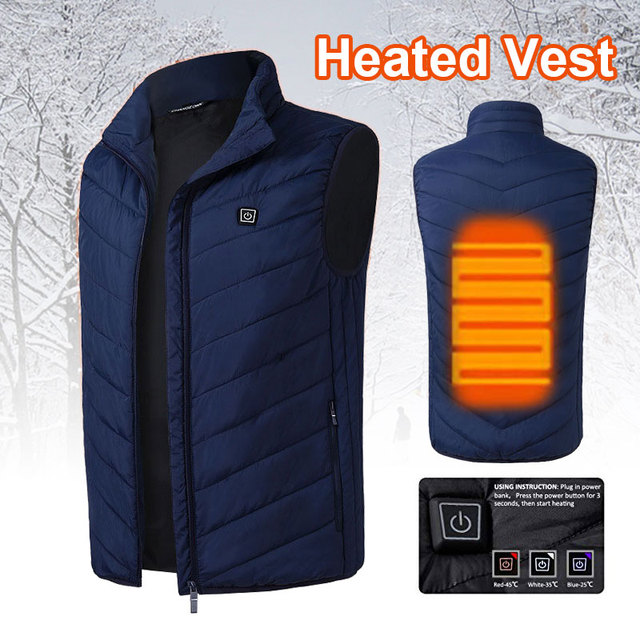 Electric Vest Heated USB 5-12v 2018 Thermal Clothing Hot Heated Pad Down Cotton Warm Jacket Heated Physiotherapy Navy Blue