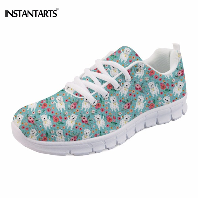 INSTANTARTS Fashion Women Spring Flat Shoes Cute Dog Westie Flower Print Female Mesh Flat Shoes Casual Breathable Sneaker Shoes