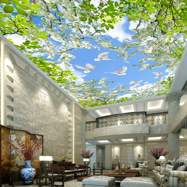 Custom Wallpaper Murals 3D Blue Sky White Clouds Pigeon Flowers Green Leaves Living Room Bedroom Ceiling Fresco Mural Wall Paper