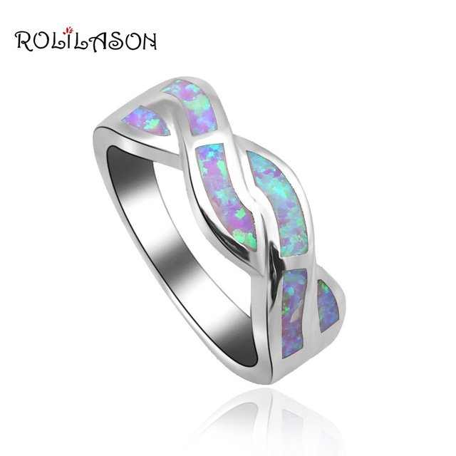 New coming 2017 Fashion Jewelry Rings for women Light Purple Fire Opal stamp Silver Ring USA #6#6.5#7#7.5#8#9 OR681