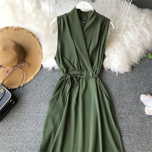 Summer Chiffon Women Dress Fashion Sleeveless V-Neck Vestido Solid Tank Sundress Basic Knee-Length A-Line Robe