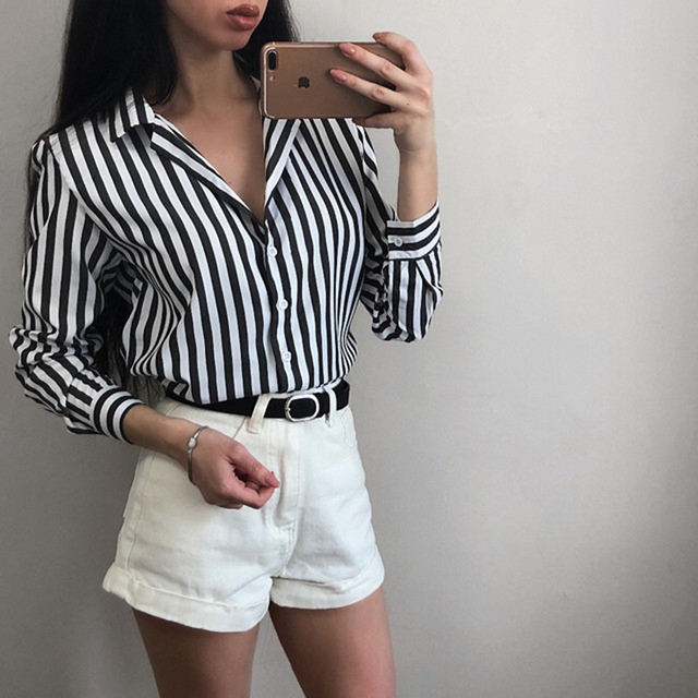 New Arrival 2018 Fall Fashion Women Long Sleeve Striped Button Up Shirts Autumn Ladies Vintage Casual Womens Tops and Blouses