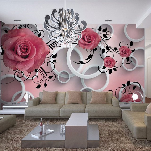 Photo Wallpaper 3D Stereo Relief Flower Circle Modern Simple Mural Dining Room Living Room Sofa TV Backdrop Wall Papel De Parede