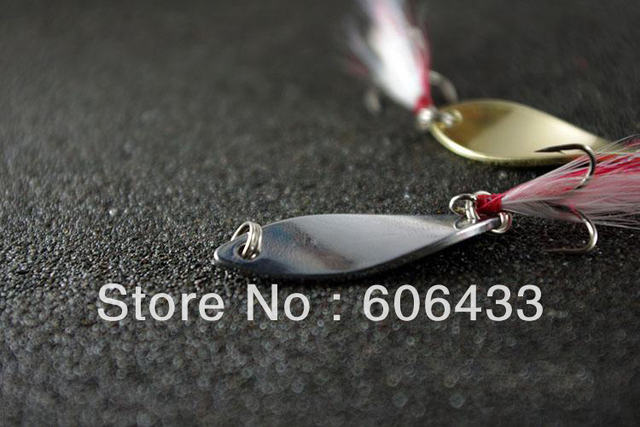 5PCS Fishing Spoon Lure Treble Feather Hook Spinner baits silvery 10g