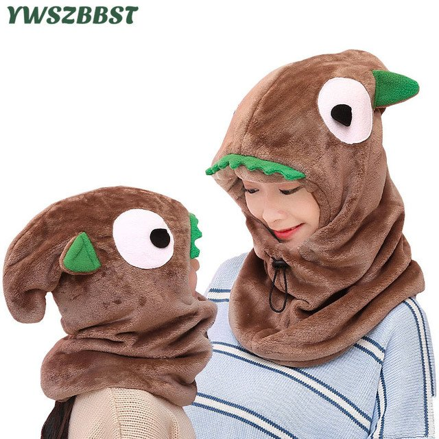 New Autumn Winter Children Beanies Hats with Hooded Scarf Girls Boys Beanies Caps Toddlers Plush Warm Parent-child Women Hat