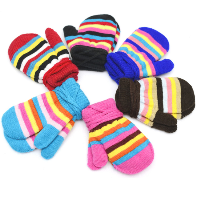 2016 New Winter Warm Striped Kids gloves Toddler Knit Mittens Children Gloves For Fitness Eldiven Boy Girl Gloves For 1-5Y