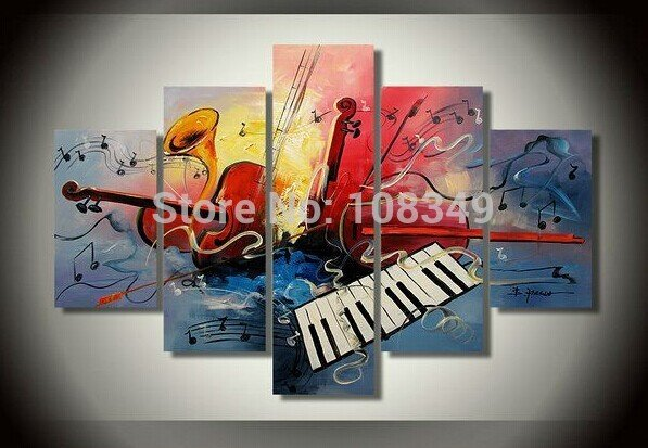Hand Painted Stretched Framed Oil Wall Art The sound of music Home Decoration  Landscape framed canvas painting 5pcs A Set