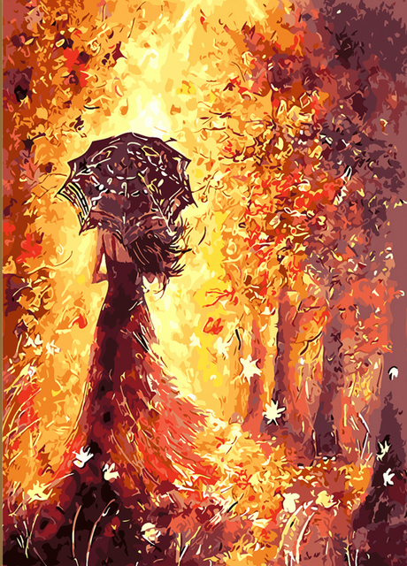 Th Gold autumn leaves By Numbers Modern Wall Art Handpainted Oil Painting On Canvas For Home Decor Frameless Picture 40*50cm