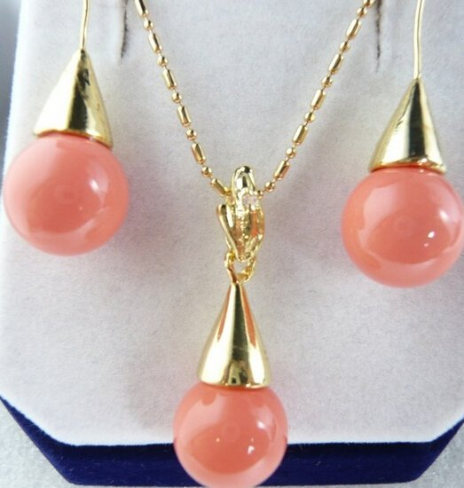 free shipping 00495  Sallei natural nanyang pearl 12mm pink coral pendant drop earring shell bead revision set