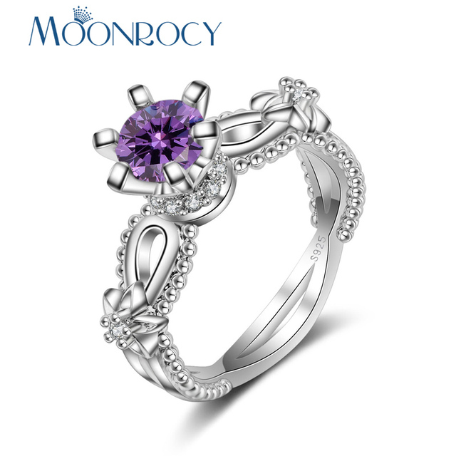 MOONROCY Silver Color Cubic Zirconia CZ Purple Crystal Wedding Party Rings for Women Girls Drop Shipping Jewelry Ring Flower