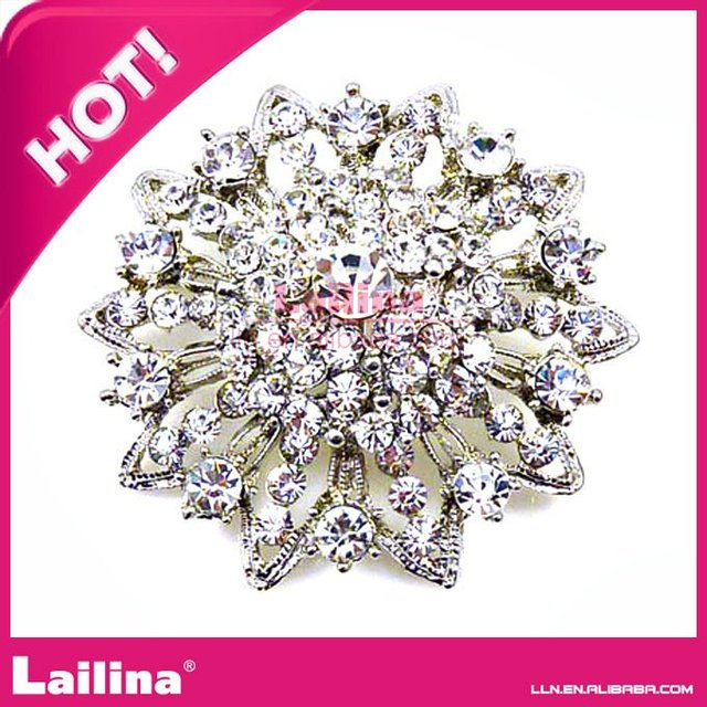 Fashion jewelry shiny flower rhinestone brooch for wedding dress