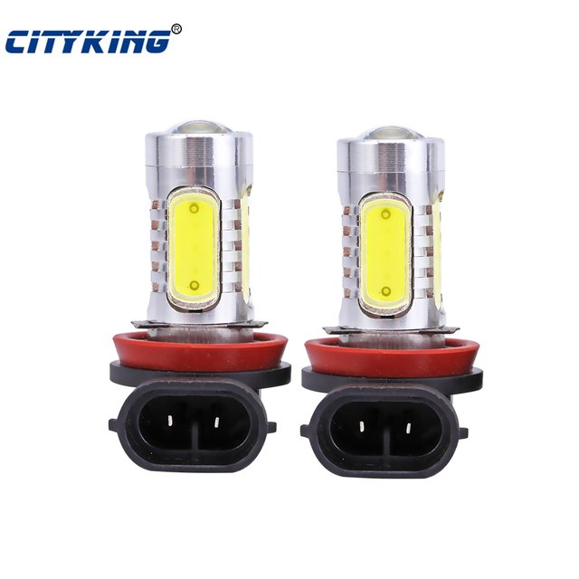 2pcs/lot Super Bright H11 led High Power 7.5W Lens LED White h7 9006 9005 881 880 HeadLight LED Bulb Fog Lamp Free Shipping