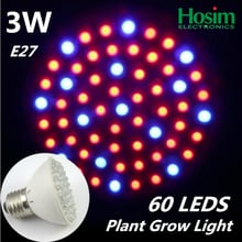 2pca/lot 3W E27 LED grow bulb, Red / Blue (3:1) Color 60 Leds LED Plant Grow Light for Hydroponics plant System,Free shipping