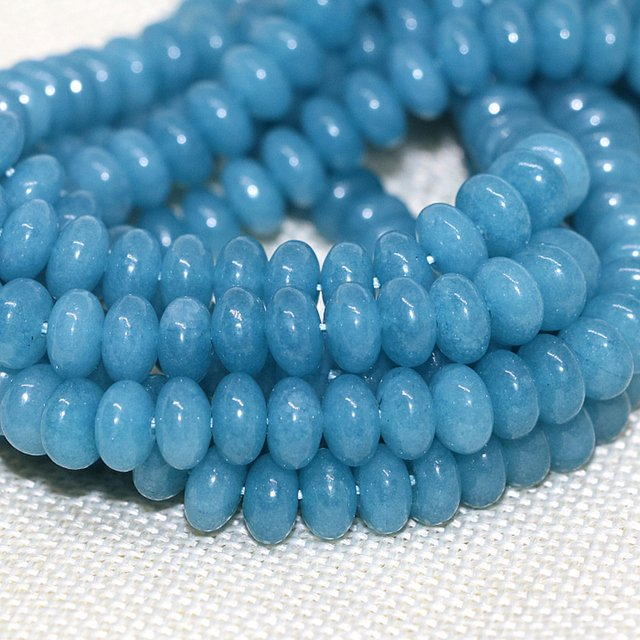 Charming blue jades stone chalcedony beads 5*8mm abacus rondelle shape loose beads high grade women jewelry making 15inch B165