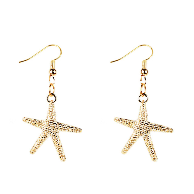 Trendy Metal Star Starfish Earrings For Women Classic Hexagram Ear Jacket Jewelry Rose Gold Silver Color for Girl Accessories