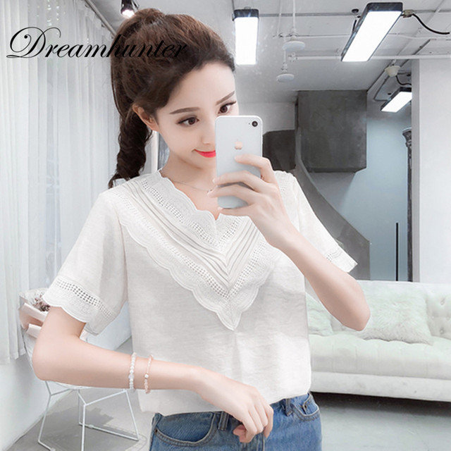 Summer Sweet Blouse Women Fashion Chiffon Blouse Shirt Tops Lace Patchwork Shirt Blusas Casual Short Sleeve V Neck Solid Tops