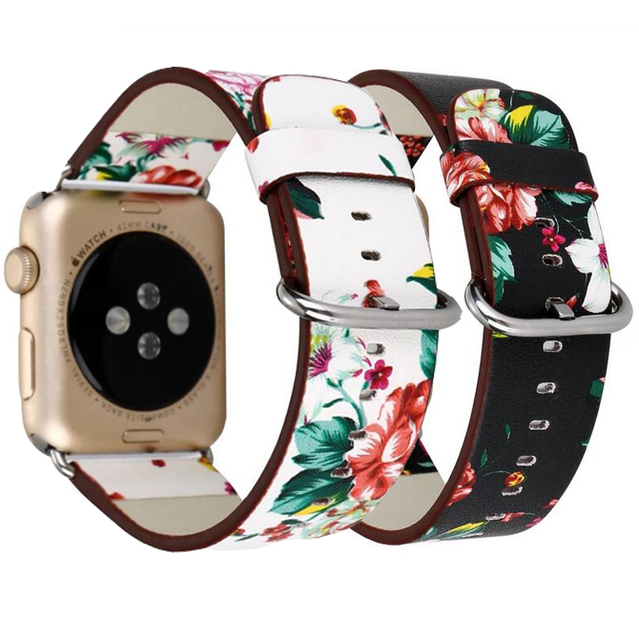 National Floral Printed Leather Loop for iwatch 4 3 2 1 Strap for Apple Watch Band 38mm 42mm 40mm 44mm Wrist Watch Bracelet