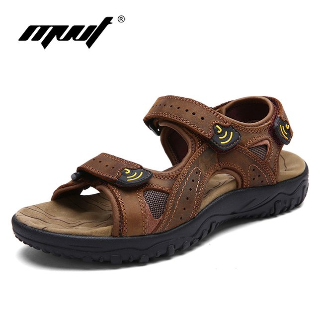Classic Brand genuine cow leather men's sandals comfort casual shoes men slipers top quality outdoor sandals men's shoes