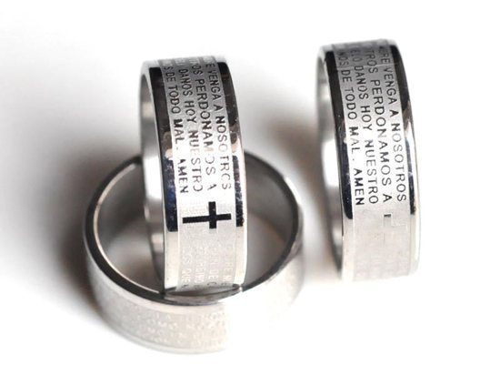 wholesale lots 36pcs cross rings Bible stainless steel rings 7.5 8 8.5 9 9.5 Men Ring Jewelry Free shipping