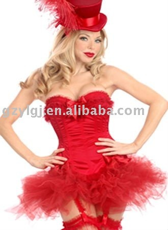 wholesale Free shipping sexy lingerie party gorgeous corset skirt  red S - 3XL A070
