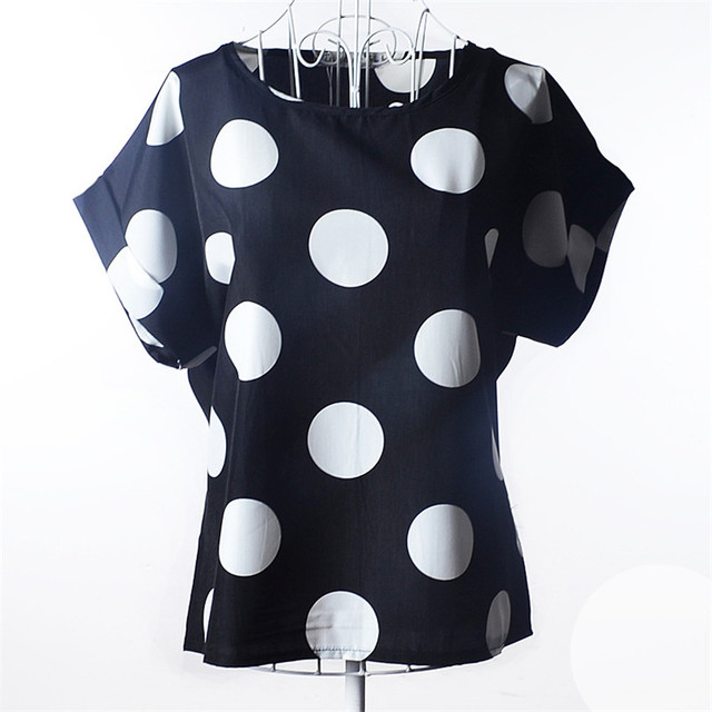 INDJXND Women Stripe Dot Blouse Print Shirt Short Sleeve Blouse O-Neck Casual Tops Office Chiffon Plus Size Blusas Femininas