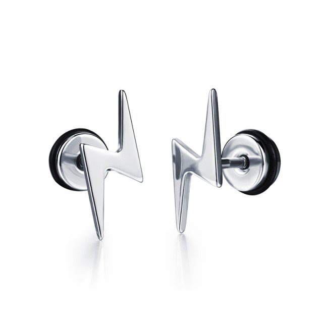 Personality Lightning Stud Earrings For Man Titanium Steel Earrings Geometric Irregular Earring Hip Hop Fashion Cool Jewelry