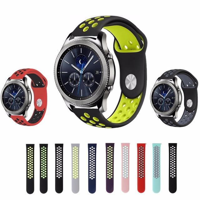 22mm Sport silicone strap band for samsung gear s3 frontier/classic smart watch rubber Bracelet replacement watchband