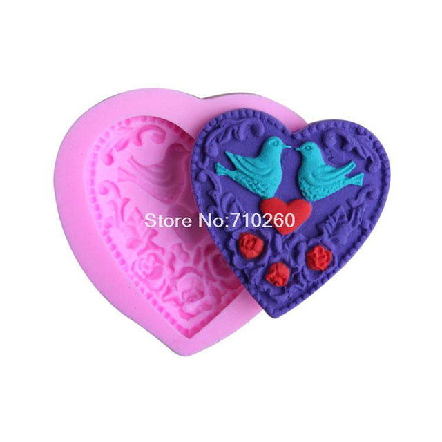 double birds love flower shape Silicone 3D Mold Cookware Dining Bar Non-Stick Cake Decorating fondant soap mold G088