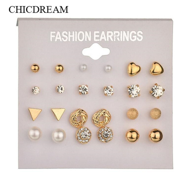 12Pairs/set Fashion Rhodium Pearl Stud Earrings For Women Triangle Star Round Bow Small Earring Set Mix Costume Ear Stud Brincos