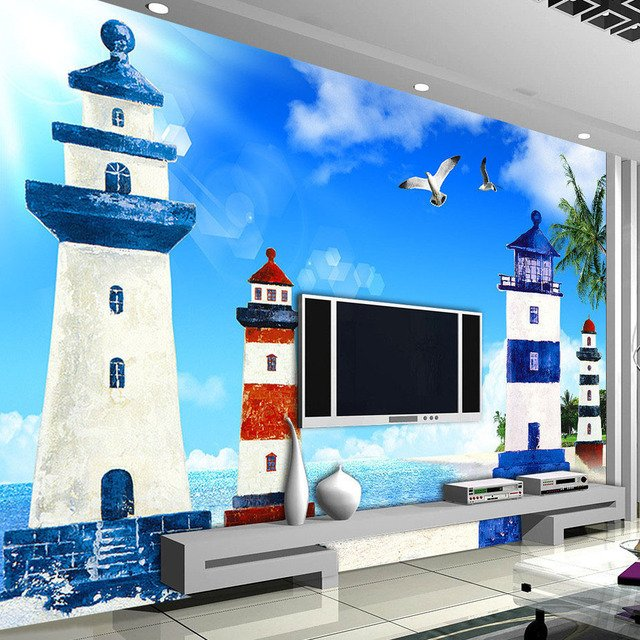 Custom Photo Mural Mediterranean Style Blue Sky White Clouds Lighthouse Living Room TV Backdrop Decorative Pictures Wallpaper 3D