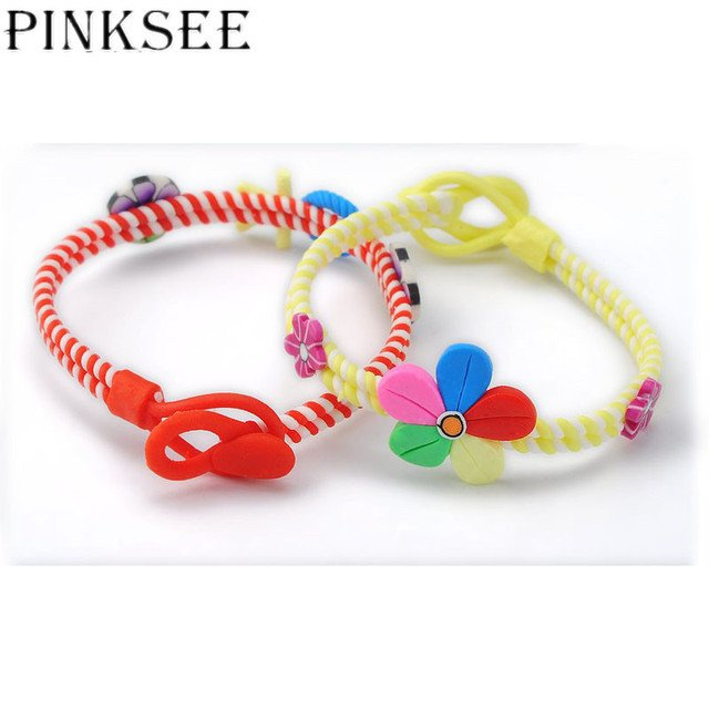 PINKSEE Mixed 24Pcs Fashion Strands Polymer Clay Kids Bracelets Wristband For Girls Party Jewelry Accessories Wholesale