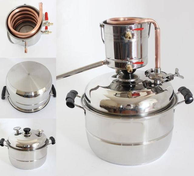 DIY New 10L Stainless&Copper Home Moonshine Still Water Distiller Vodka Brandy Grape Wine Making Essential Oil Pure Dew Brew Kit