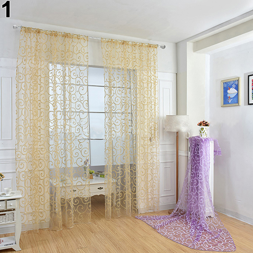 Europe and American Style Romantic Floral Vine Voile Tulle Door Window Curtain For Living Room Window Drapes Sheer Voile Curtain