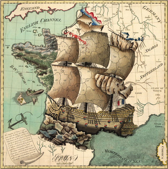 Wall Hanging Paintings, 1796 France Ship Shape Map, Study Room Sience Map, Home Decor Cotton Canvas Map Paintings