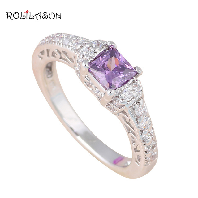 Wholesale Retail Purple Zircon silver color stamped Zircon Rings fashion jewelry USA Size #5.5  #6.5 #7 #8 HR25
