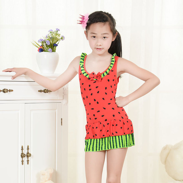 2015 New Children's Swimwear Lovely Watermelon Student Piece Swimsuit Skirt Big Virgin Girls Children Swimwear Girls