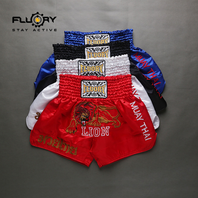 Fluory embroidery lion muay thai shorts different colors kick boxing shorts