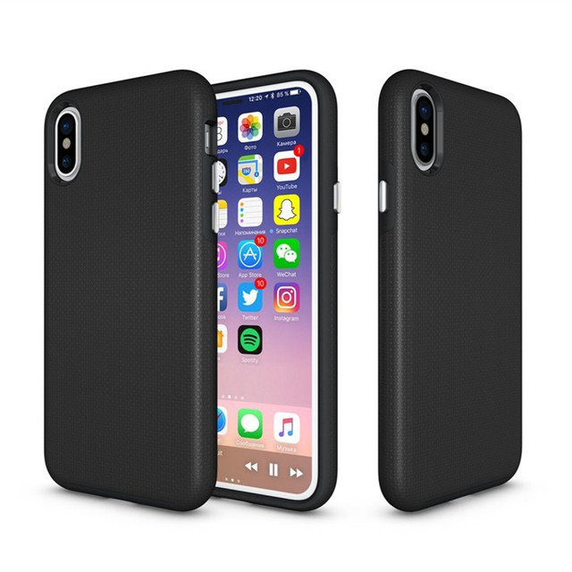 360 Degree Full Protection Shockproof Anti Slip Silicone Case For iPhone X Back Cover Case