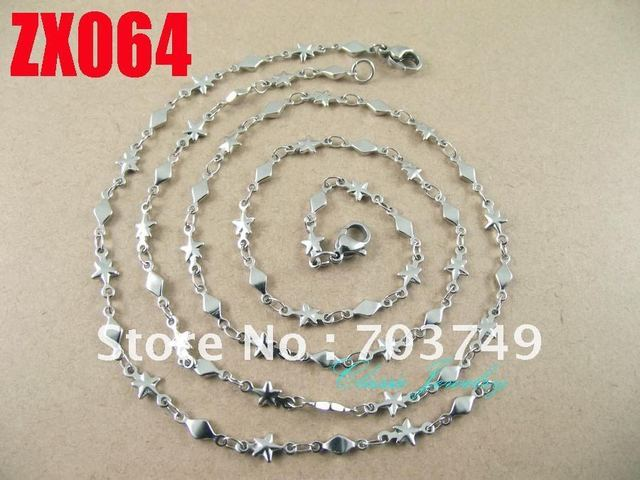 Wholesale  his-and-hers stainless steel  star shape chain necklace bracelet set fashion men's women jewelry 10set ZX054